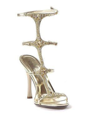 Women's Gold Jeweled Sandal