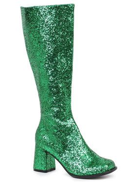 Green Glitter Gogo Boots For Adults