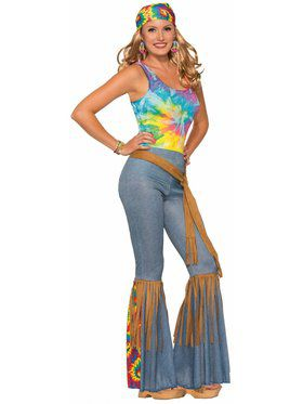 Womens Hippie Bell Bottoms with Sash Belt