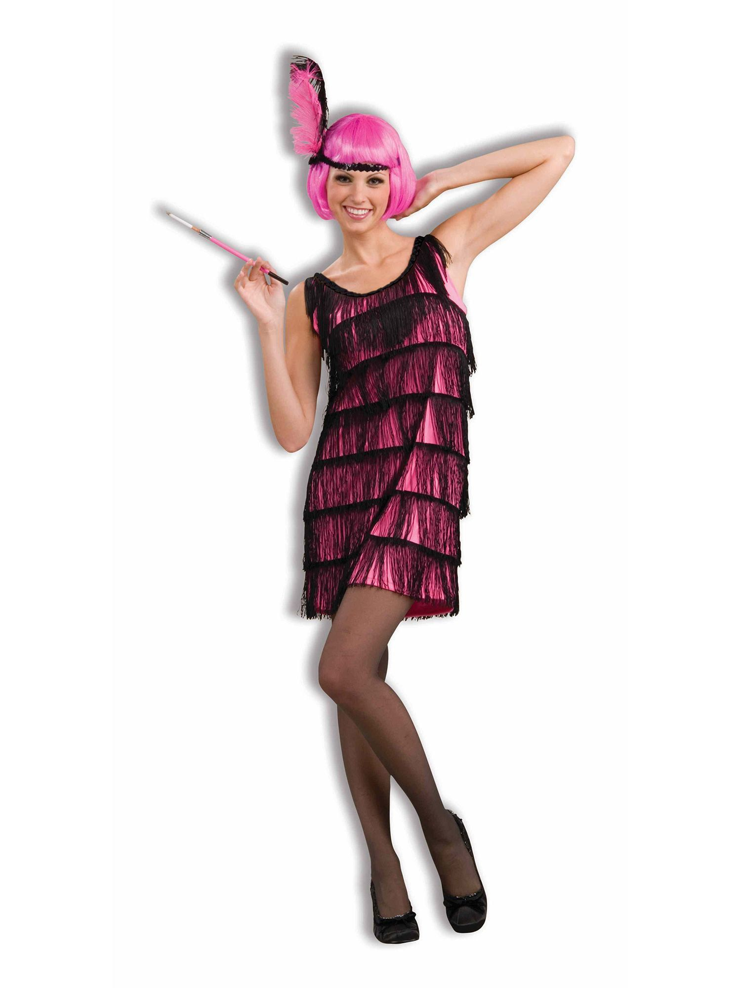 womens jazzy hot pink flapper costume