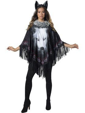 Womens Lone Wolf Poncho Costume