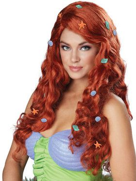 Women's Mermaid Aquatic Fantasy Auburn Wig