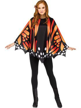 Womens Monarch Gold Butterfly Poncho Costume