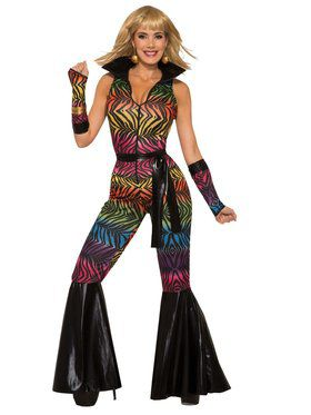 Womens Colorful Zebra Print Disco Jumpsuit Costume