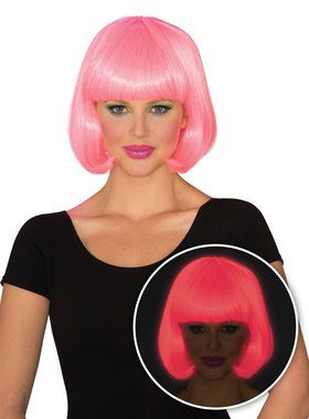 Pink Bob Cut Glow Wig for Women