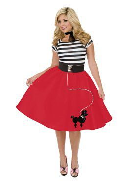 Women's Poodle Skirt with Black Elastic Waist Band