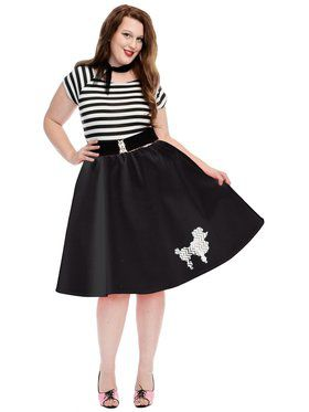 Plus Women's Poodle Skirt with Elastic Waist Band