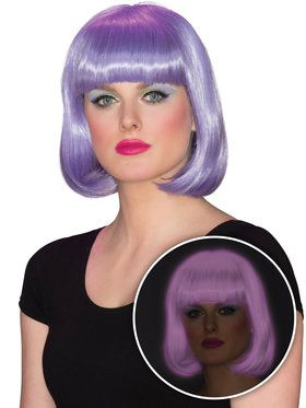 Purple Bob Cut Glow Wig for Women