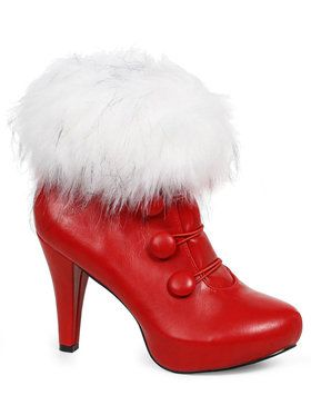 Red Ankle Boots with Faux Fur For Adults