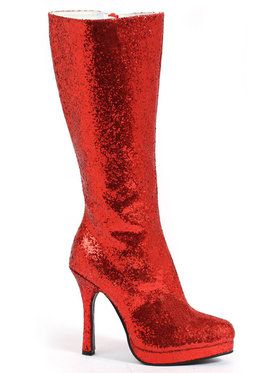 Red Glitter Boots For Adults