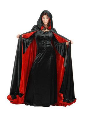 Womens Reversible Black And Red Cloak