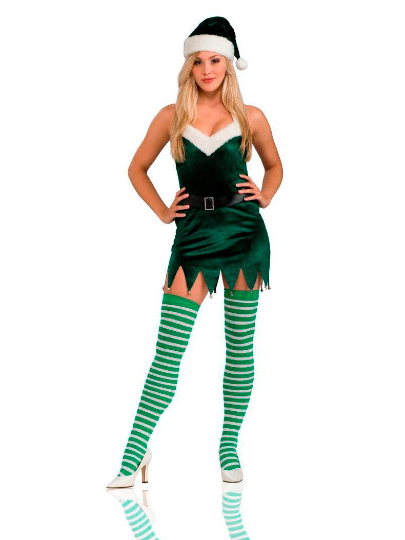 womens sassy elf dress and thigh highs