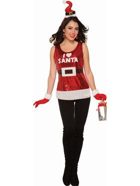 Women's Classic Sequin I Love Santa Shirt