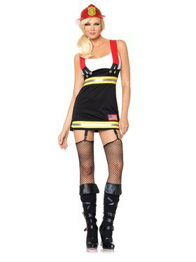 Womens Sexy Back Draft Babe Fireman Costume