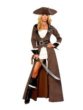 Womens Sexy Deluxe Pirate Captain Costume