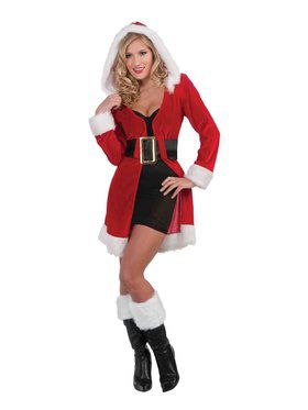 Womens Sexy Enchanted Miss Christmas Short Coat Costume