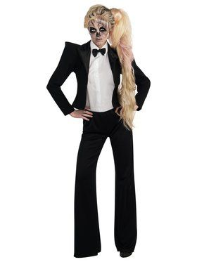 Women's Sexy Lady Gaga Black and White Tuxedo Costume