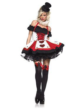 Womens Sexy Pretty Playing Card Queen of Hearts Costume