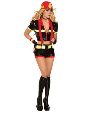 Womens Red Hot Sexy Firefighter Costume