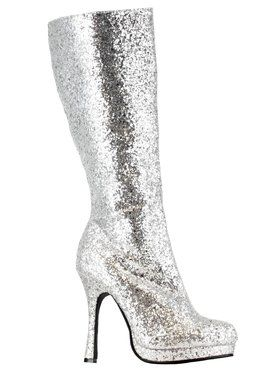Womens Silver Glitter Knee High Boot