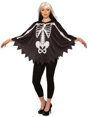 Skeleton Bones Black Poncho for Women