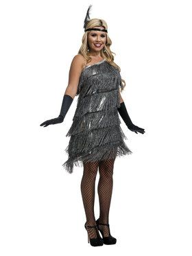 Womens Slant Fringe Flapper Costume