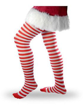 Women's Striped Tights - Red and White