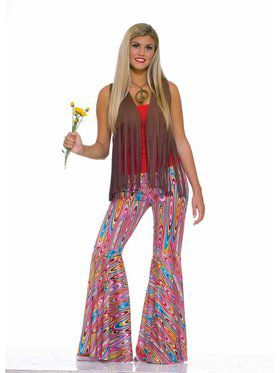 Womens Wild Swirl Bell Bottom Pants