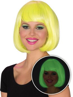 Womens Yellow Glow Bob Wig