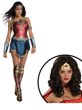 Wonder Woman Movie Adult Costume and Wig for Halloween