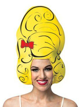 Yellow Beehive Comic Foam Wig For Adults