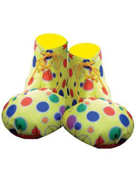 Yellow Polka Dot Clown Shoe Covers Adult Unisex