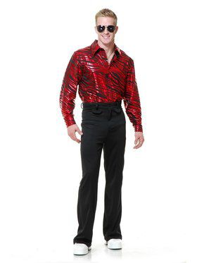 Zebra Print Disco Shirt - Red