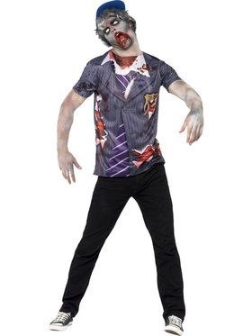 Zombie Schoolboy T-Shirt and Cap with Sublimation Men's Costume